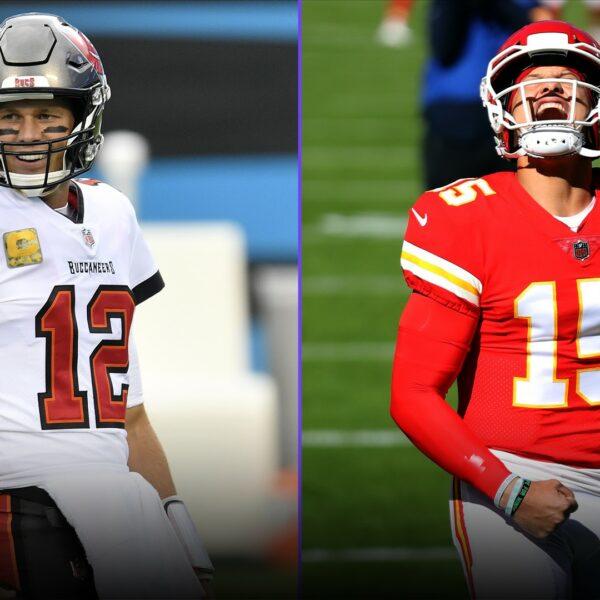 Dvě hlavní postavy Super Bowlu LV. Tom Brady a Patrick Mahomes. Zdroj: sportingnews.com