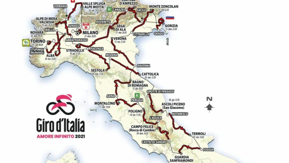Itinerář závodu Giro d'Italia pro rok 2021. Zdroj: sport.aktuality.sk